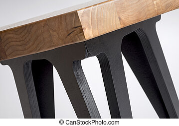 Close up of Hexagonal Coffee Table with Painted Black Legs