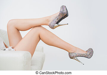 Close-up of high heels - Close-up of woman trying high heels