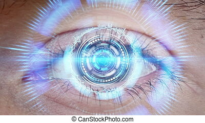 close-up of high tech cyber eye