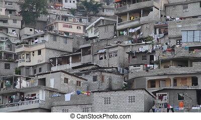 close-up of hillside neighborhood of Port-au-Prince Haiti