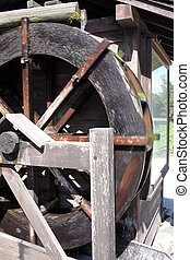 historic wooden water mill