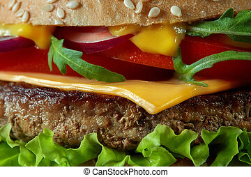 Close-up of home made tasty burgers . Food background