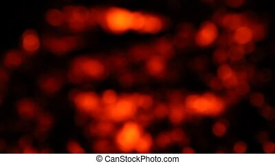 Close up of hot burning fire wood coal - Fire embers and...