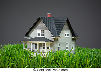 Close up of house model with green grass