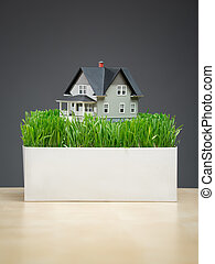 Close up of house model with green grass on stand