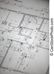 Close-up of house plans