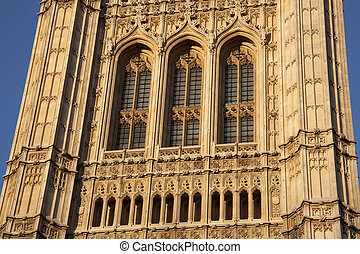 Close-up of Houses of Parliament; London, England, UK