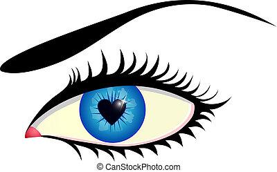 eye with heart shaped iris