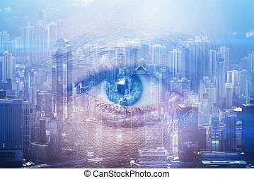 Close-up of human eye with visual effects and double exposure  contemporary city on the background. Horizontal
