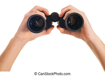 Close-up Of Human Hand Holding Binoculars On White...