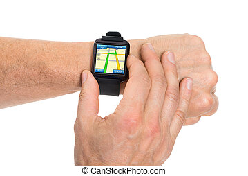 Human Hand With Smartwatch Showing Gps Map - Close-up Of ...