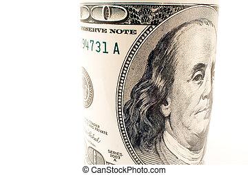 Close up of hundred dollar bill