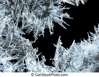 ice crystals - close up of ice crystals forming spiky...