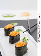 Ikura Gunkan Sushi - Close up of Ikura Gunkan Sushi