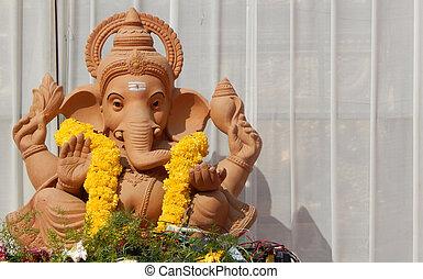 Indian Hindu Ganesha Idol In a temple