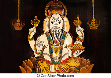 Indian Hindu God Ganesha wooden painting in a templ