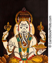Indian Hindu God Ganesha wooden painting in a temple