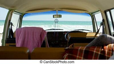 Close-up of interior of van 4k - Close-up of interior of van...