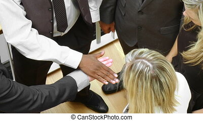 international business people with hands together footage