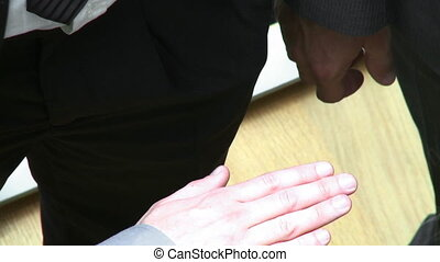 Close-up of international business people with hands together footage