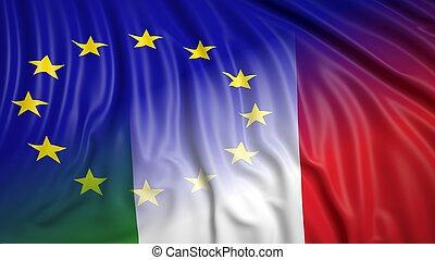 Italian and EU flags - Close-up of Italian and EU flags. ...