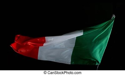 Close up of Italian Flag Waving in Wind. Super Slow Motion.