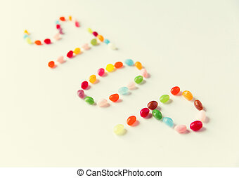 close up of jelly beans candies on table