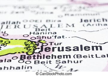 close up of Jerusalem on map, Israel