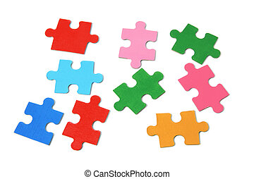 Jigsaw Puzzle Pieces - Close Up of Jigsaw Puzzle Pieces