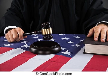 Judge Hands With Gavel And American Flag
