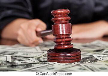 Judge Striking The Gavel - Close-up Of Judge Striking The...