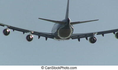 Close up of jumbojet in mid-air