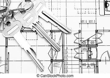 Close up of key on blueprint
