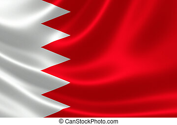 3D rendering of the flag of Bahrain on satin texture.