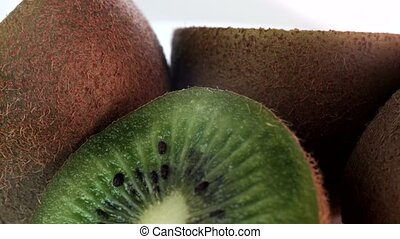 Close-up of kiwi spinning