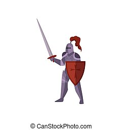 Close-up of knight stands in violet armor, raises sword and protects body with red shield on white background