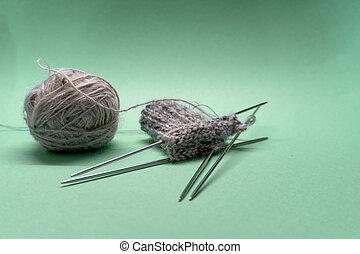 Close up of knitting socks.