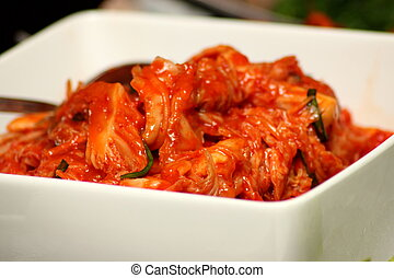 Korean Kimchi in white  bowl