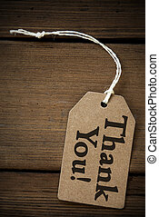Close Up Of Label With Text Thank You - Close Up Of A Brown...