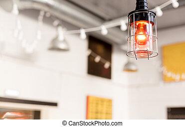 close up of lamp at modern restaurant