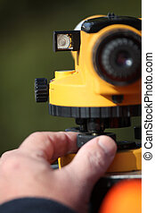 Close-up of land surveying equipment