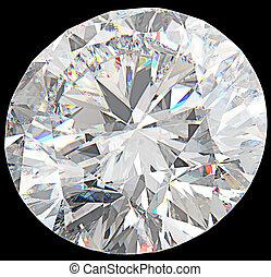 Close-up of large round diamond or gemstone isolated over...