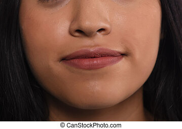 Close up of latin woman lips.