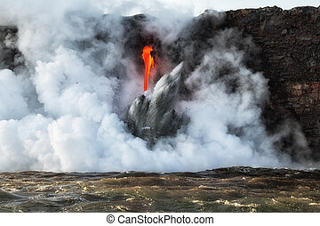 Close up of lava entry into ocean at Hawaii