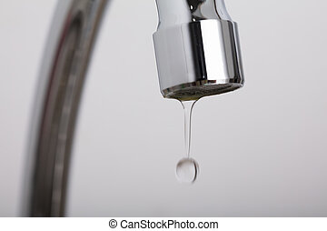 Leakage Tap With Dripping Water Drop