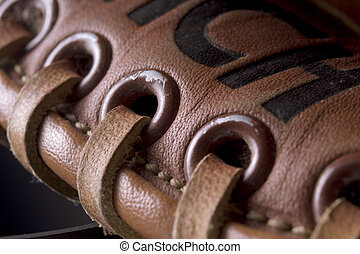 close up of leather baseball glove