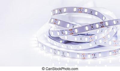 Led stripe - Close up of Led stripe light on white...