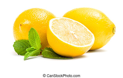Close up of lemons with melissa, isolated on white. Concept ...