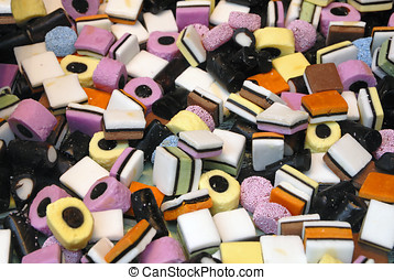 all sorts sweets - Close up of licorice all sorts sweets