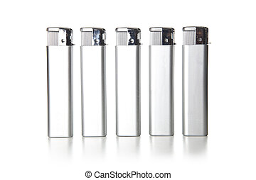 close up of lighters on white background with clipping path